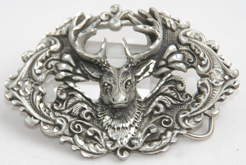 Stagg belt buckle, pewter. Made in USA