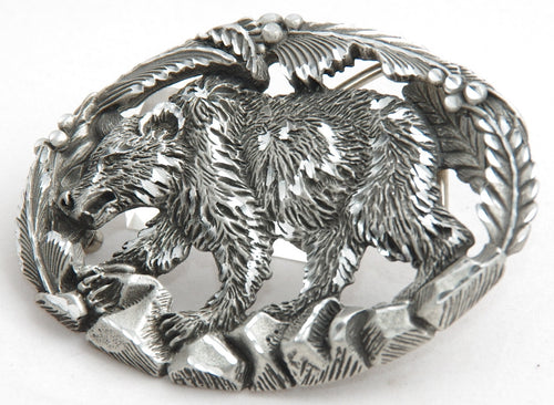Bear belt buckle, pewter. Made in USA