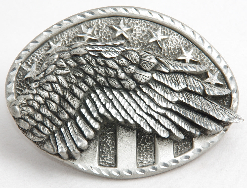 Eagle wing belt buckle, pewter. Made in USA