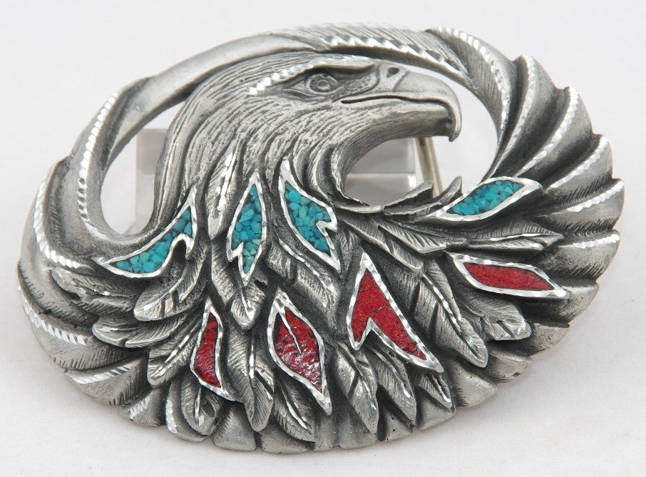 Eagle belt buckle inlay, pewter. Made in USA