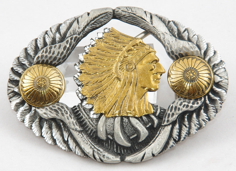 Chief head belt buckle, pewter with brass Chief Head. Made in USA