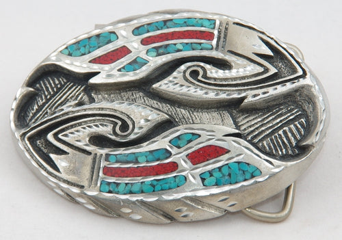 Wings belt buckle inlay, pewter. Made in USA