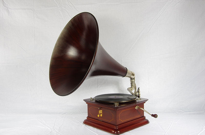 Columbia graphophone, mahogany cabinet with smooth mahogany horn.