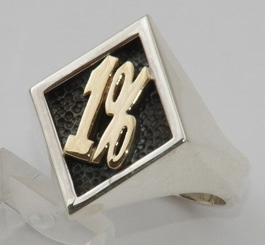 Sterling silver 1% ring with 9 ct gold 1%.  Mens ring #1169