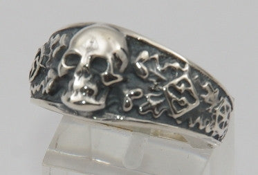 Sterling silver (925) mens skull ring #1166
