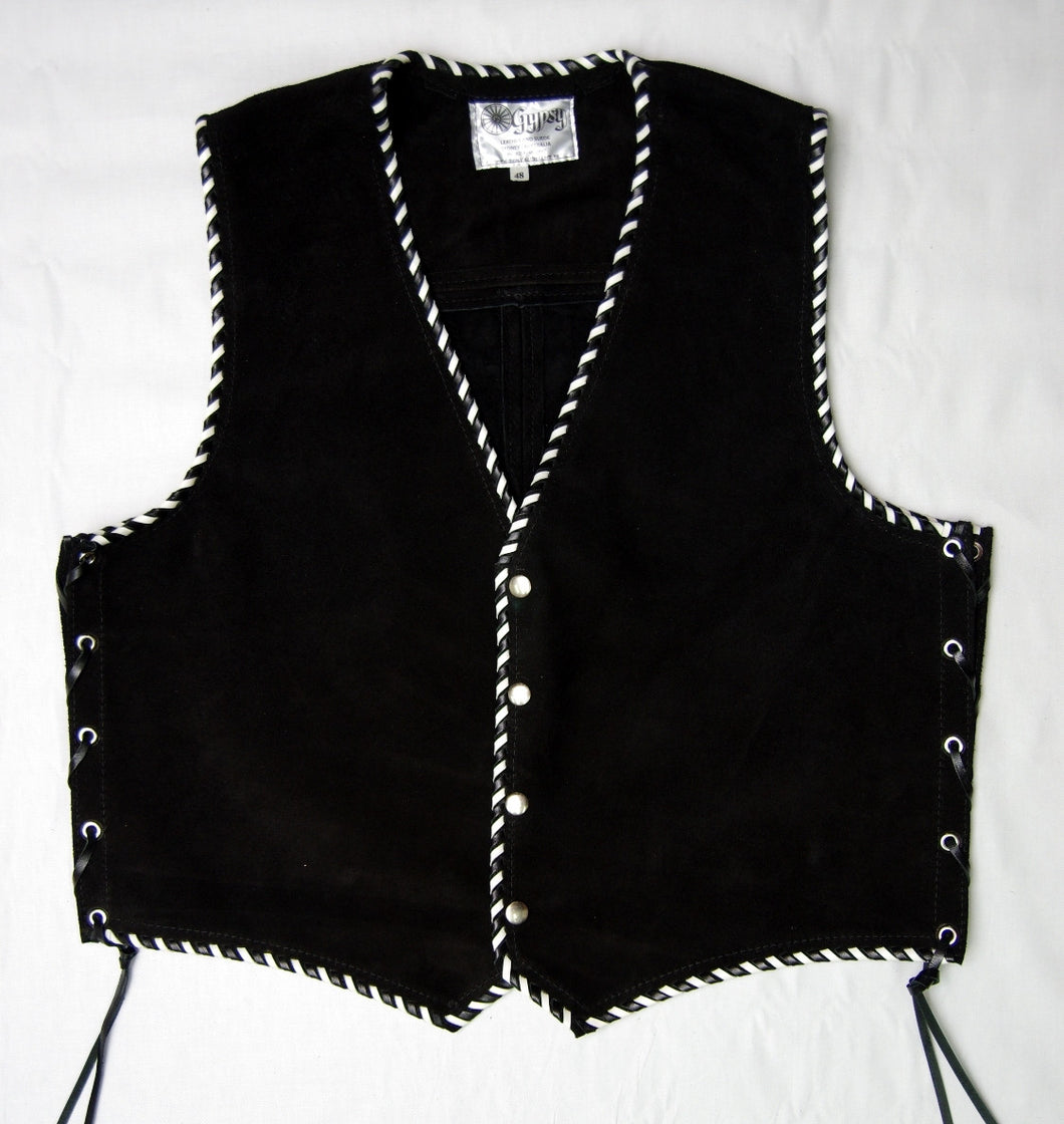 Black heavy weight suede laced vest, Black and White whip-stitched, no seam front.