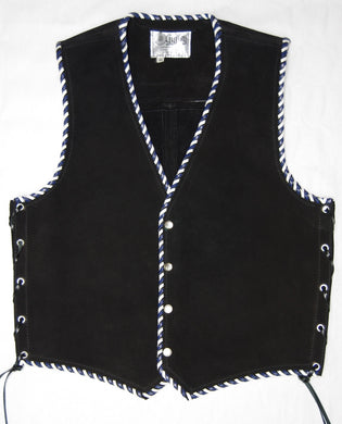 Black heavy weight suede laced vest, Blue and White whip-stitched, no seam front.