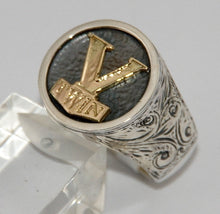 Sterling silver V-Twin ring with 9 ct gold logo.  Mens ring #1142