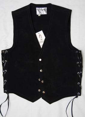 Black heavy weight water resistant 2.2 mm thick suede vest.