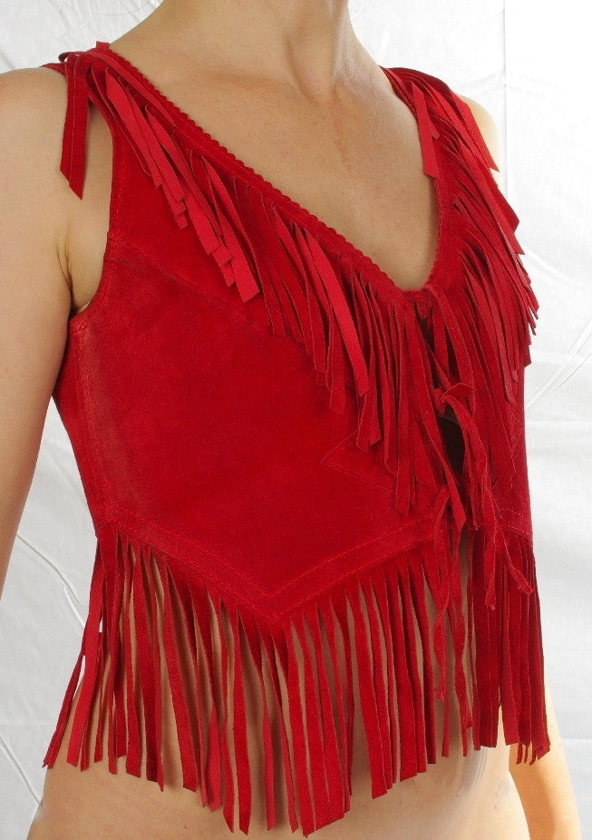 Suede Ladies fringed Vee back top.