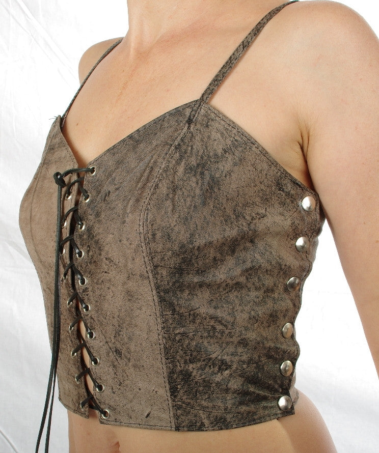 Ladies leather camisole top.
