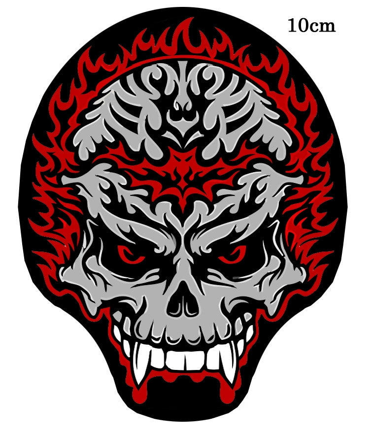 Skull Flame. 100 mm wide x 130 mm high embroided patch