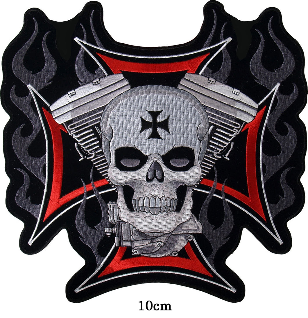 Evo flame Skull. 100 mm wide x 100 mm high embroided patch