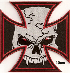 Iron Cross Skull. 100 mm wide x 100 mm high embroided patch