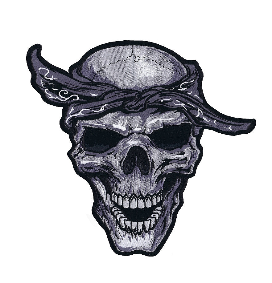 Bandana Skull. 100 mm wide x 95 mm high embroided patch