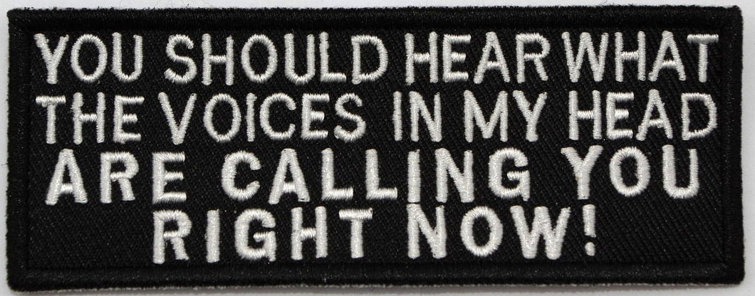 You should hear, 100 mm wide x 38 mm high, embroided patch