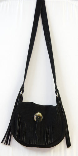 Suede and leather Ladies fringed Black Powder bag.