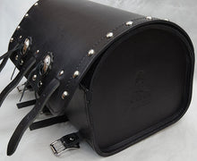 Heavy duty Deluxe and Standard black Leather back rack tour roll.