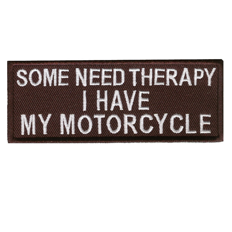 Some need therapy, 100 mm wide x 36 mm high, embroided patch
