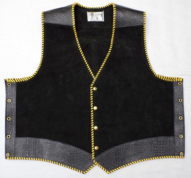 Black heavy weight suede laced vest, faux black croc trim, Yellow whip-stitched, no seam front.