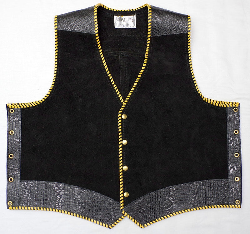 Black heavy weight suede laced vest, faux croc trim, whip-stitched, no seam front.