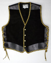 Black heavy weight suede laced vest, faux snake trim, double cordovan two colour border