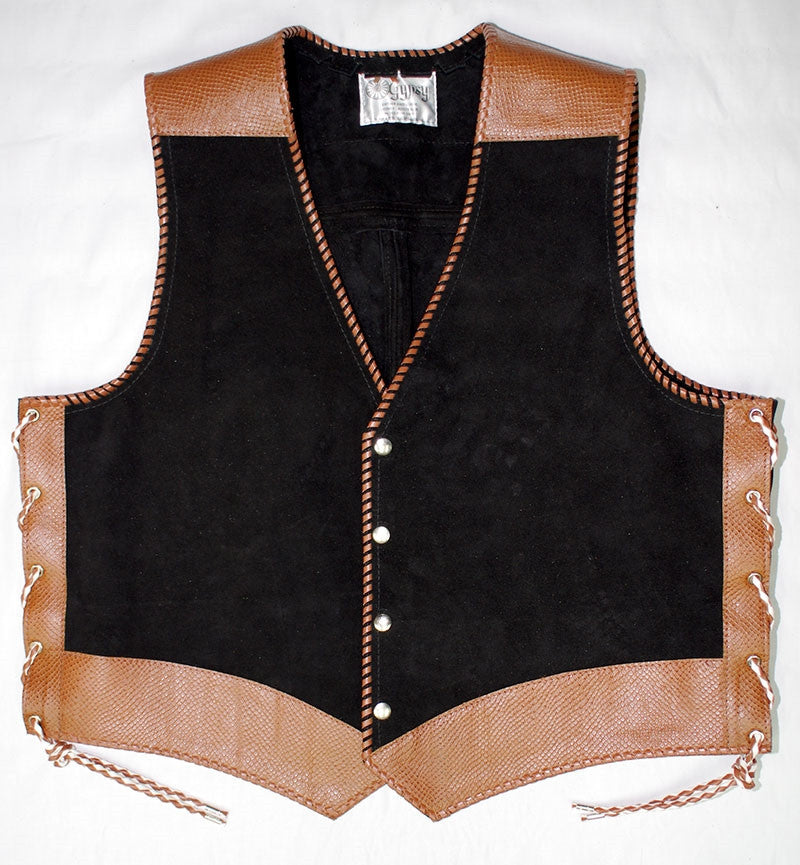 Black heavy weight suede laced vest, faux snake trim, whip-stitched, no seam front.