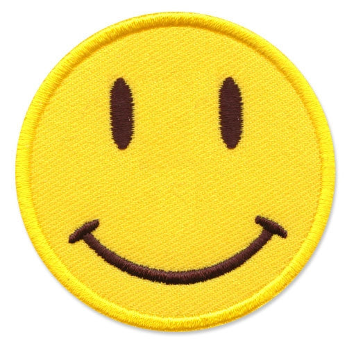 Smiley face, 63 mm wide diameter, embroided patch