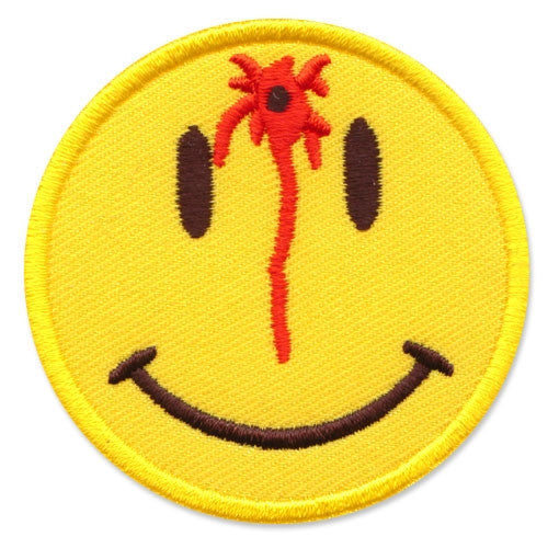 Smiley face shot in the head, 63 mm wide diameter, embroided patch