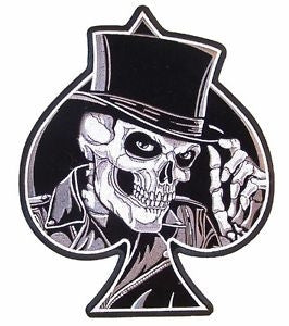Ace spade skull, 100 mm wide x 125 mm high, embroided patch
