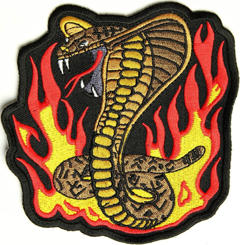 Cobra, 100 mm wide x 105 mm high, embroidered patch