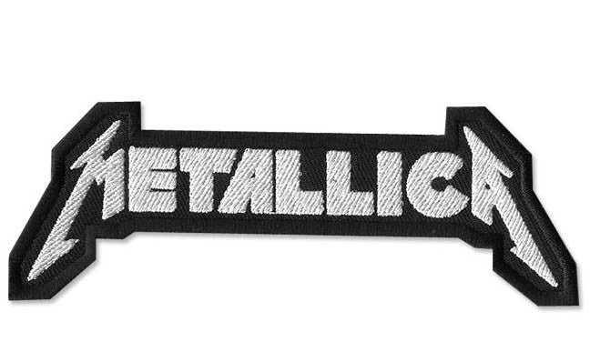 Metallica, 130 mm wide x 48 mm high, embroided patch
