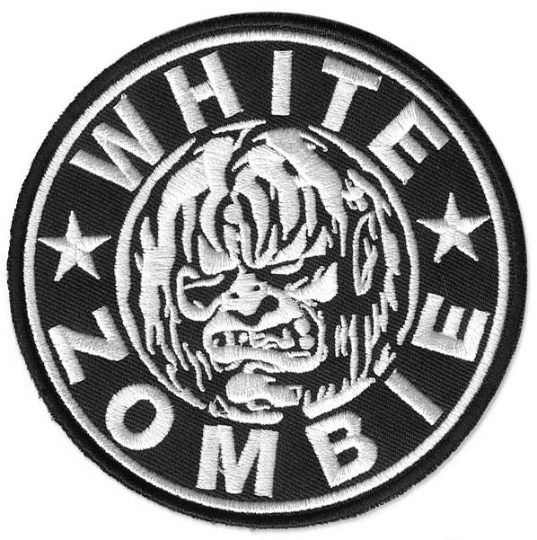 White Zombie, 100 mm wide diameter, embroided patch