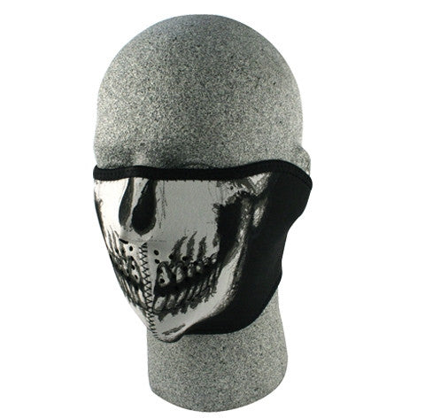 Neoprene face mask, glow in the dark skull half face.
