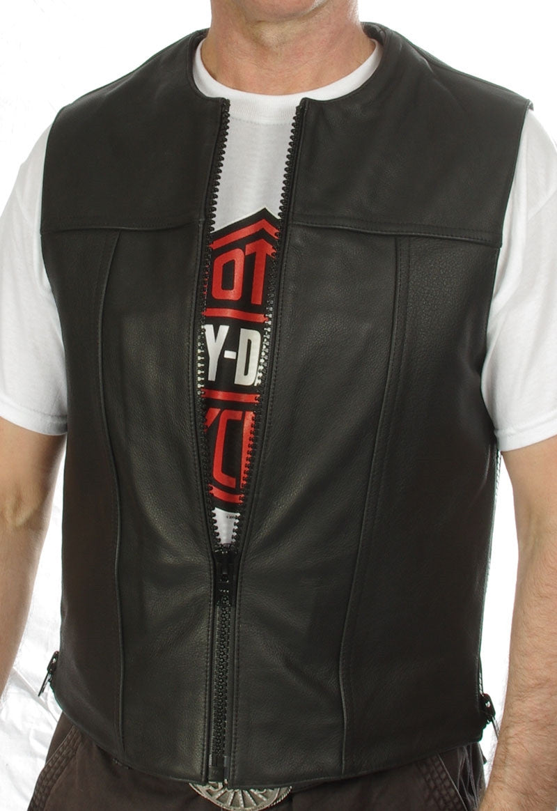 Elite Leather vest, zip front with adjustable zip sides. Original design by Gypsy Leather.
