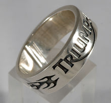 Sterling silver mens Triumph flame ring #1084
