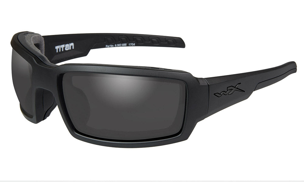 Wiley X, Titan, Matte Black Frame with Grey Lenses.