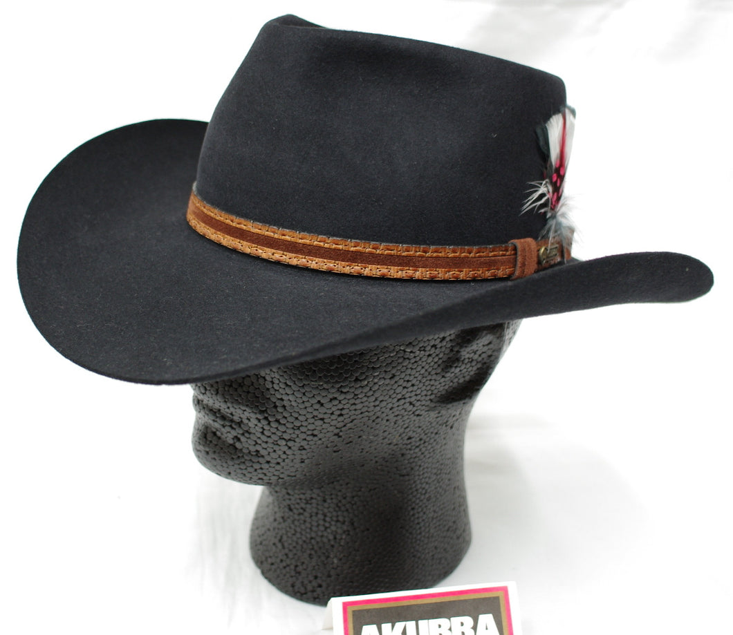 Black Akubra Stockman, Rabbit fur felt hat. Made in Australia.