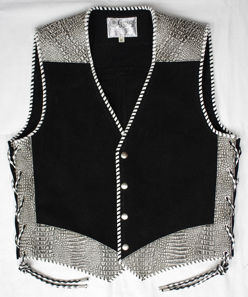 Black heavy weight suede laced vest, faux White croc trim, whip-stitched, no seam front.