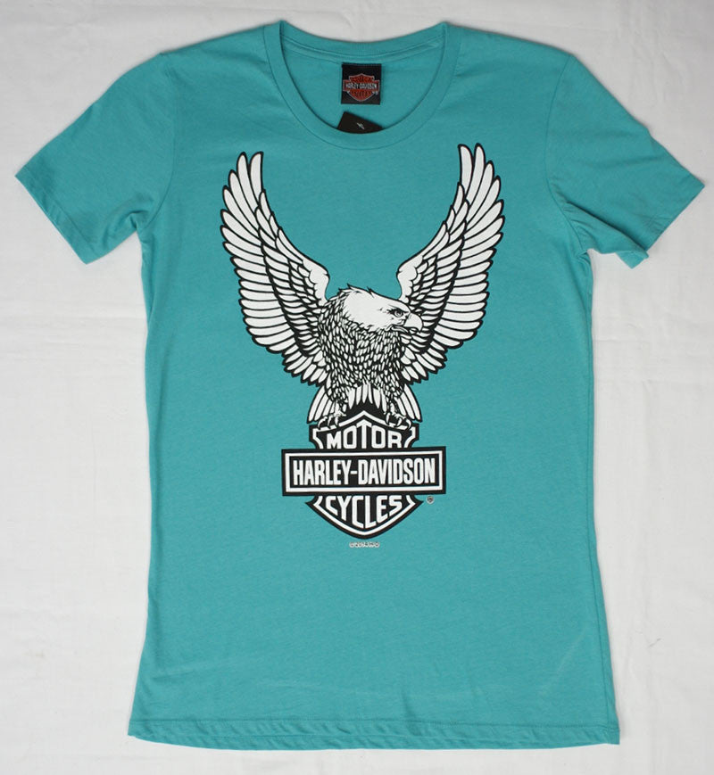 Harley-Davidson Eagle Bar and Shield, Teal, Womens Tee-shirt