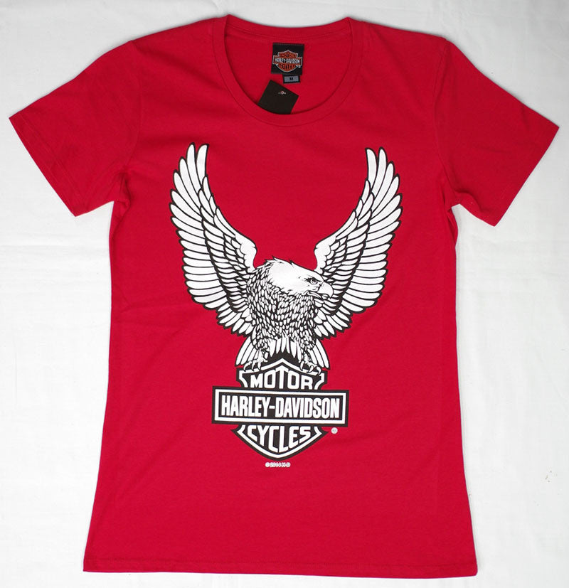 Harley-Davidson Eagle Bar and Shield, Red, Womens Tee-shirt