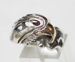 Sterling silver eagle ring with 9ct Gold beak, Ruby eye.  Mens ring #536/925/9ct