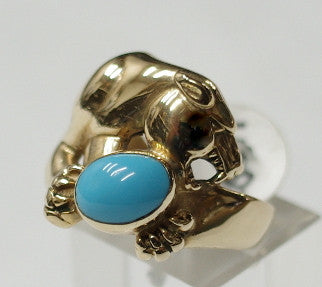 14ct Gold Panther with Turquoise ring, size Australia