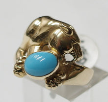 "14ct Gold Panther with Turquoise ring, size Australia ""P"" USA ""7 3/4"""