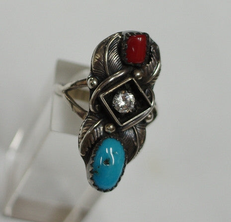 American Indian Ladies Ring, Navajo 925 Sterling Silver Red Coral and Turquoise