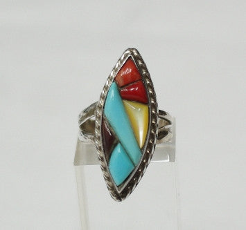 American Indian Ladies Ring, Zuni 925 Sterling Silver channel inlay