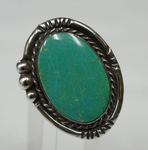 American Indian Ladies Ring, Navajo 925 Sterling Silver and Turquoise