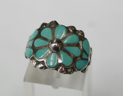 American Indian Ladies Ring, Zuni 925 Sterling Silver and Turquoise