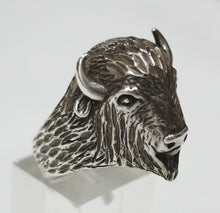 Sterling silver mens Buffalo Head ring #R293