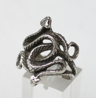 Sterling silver ring, twin snakes #507